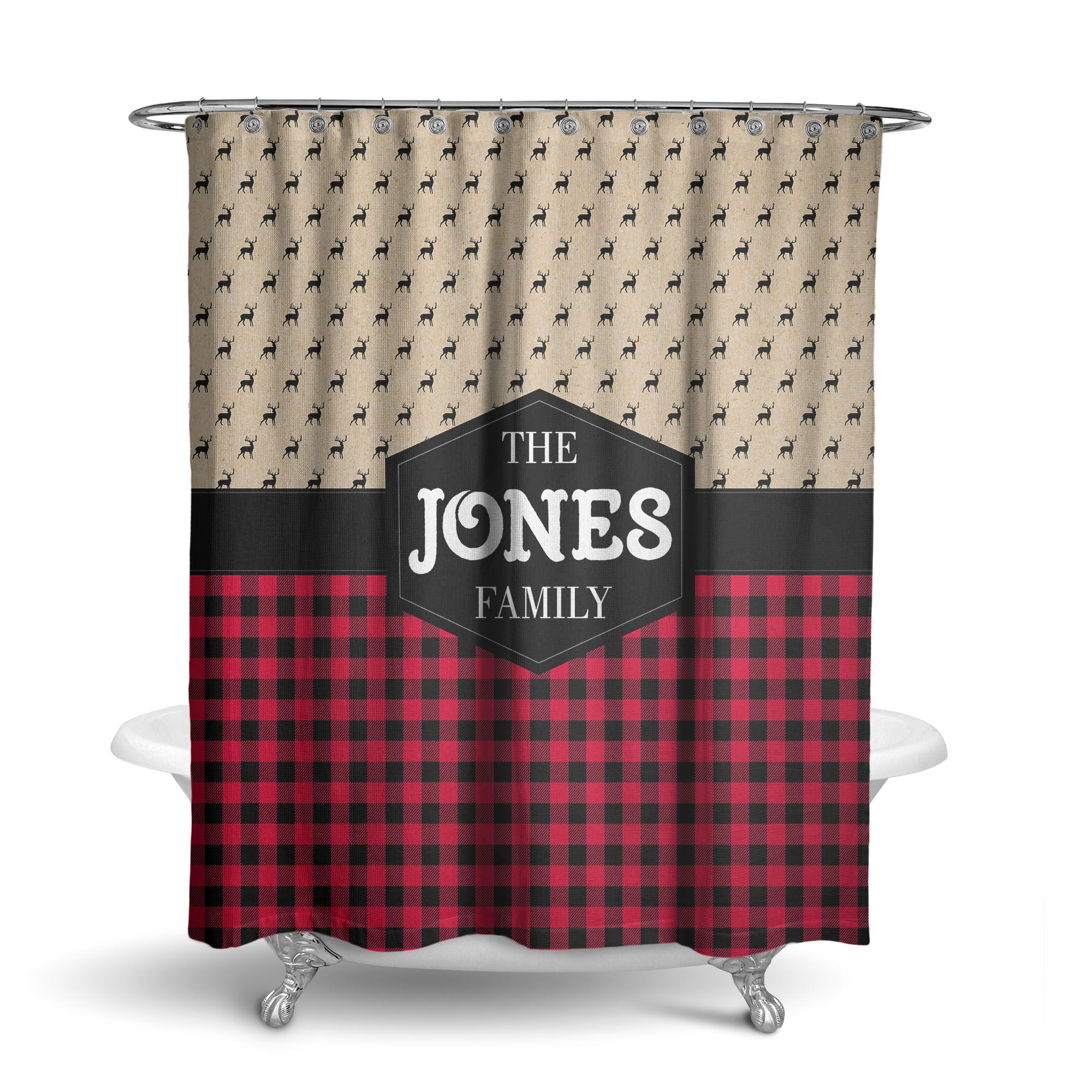Buffalo Plaid And Deer Heads Monogram Shower Curtain SC1058