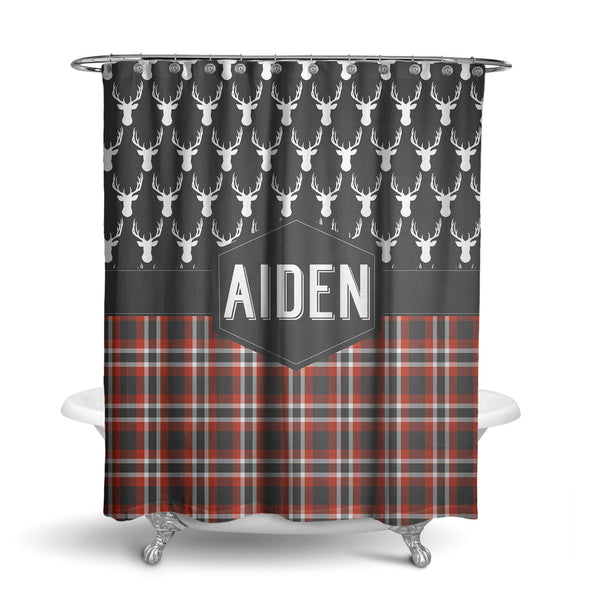 Plaid and Deer Head Monogram Shower Curtain (SC1059)