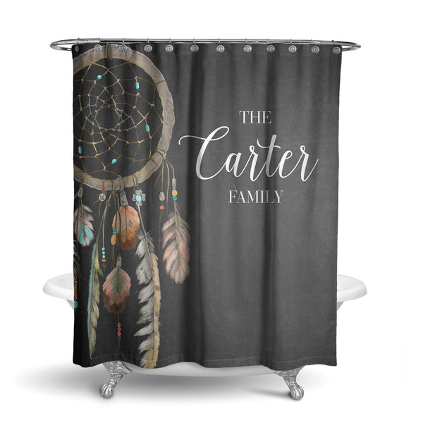Boho Chalkboard Dream Catcher Monogram Shower Curtain (SC1061)