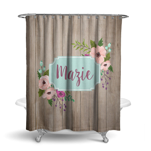 Plum Floral Monogram Shower Curtain (SC1067)