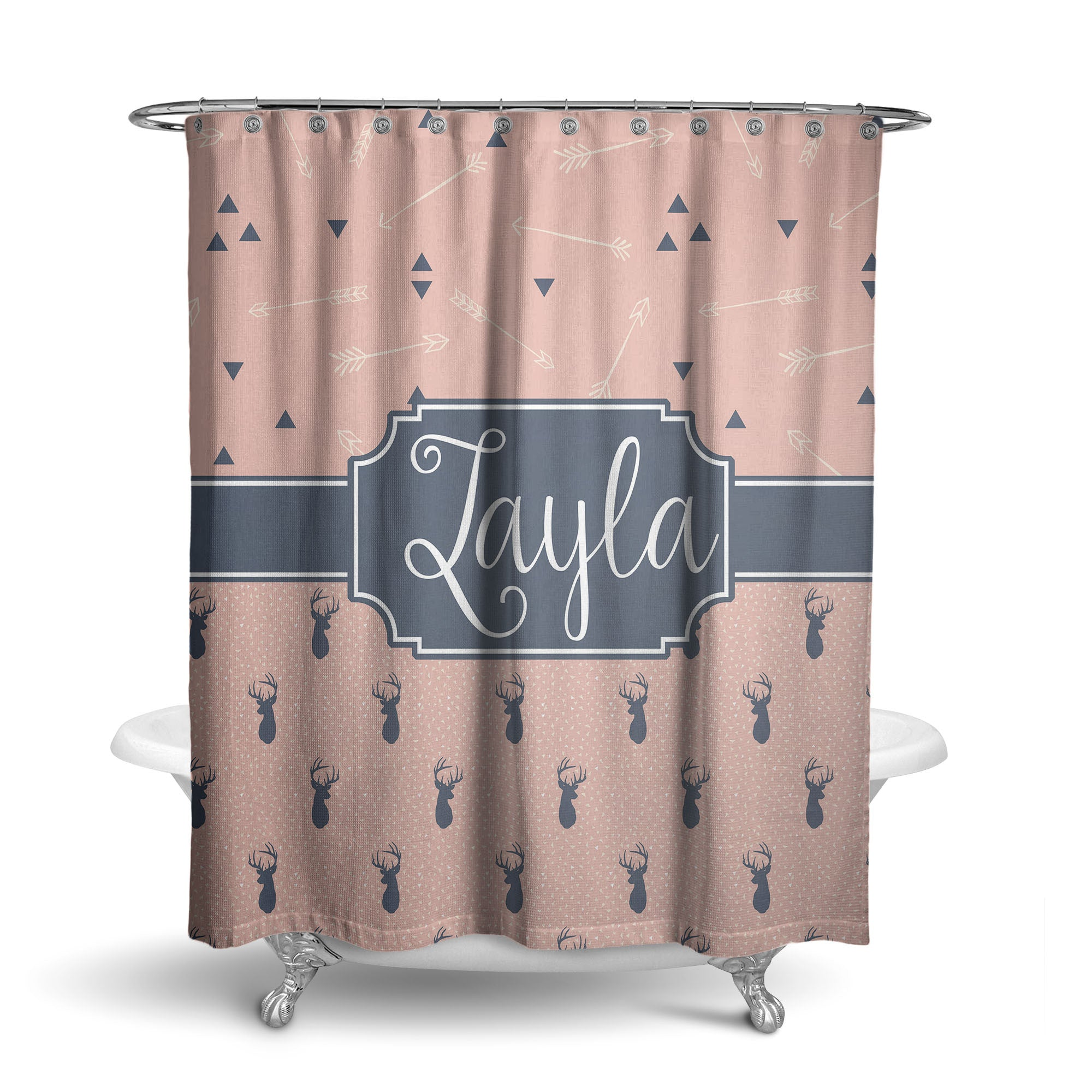 Deer And Feathers Monogram Shower Curtain SC1070