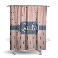 Deer and Feathers Monogram Shower Curtain (SC1070)
