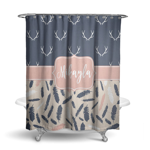 Antlers and Feathers Monogram Shower Curtain (SC1072)