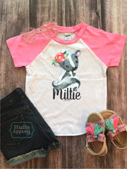 Monogram Cute Skunk Raglan Tee (T1014)