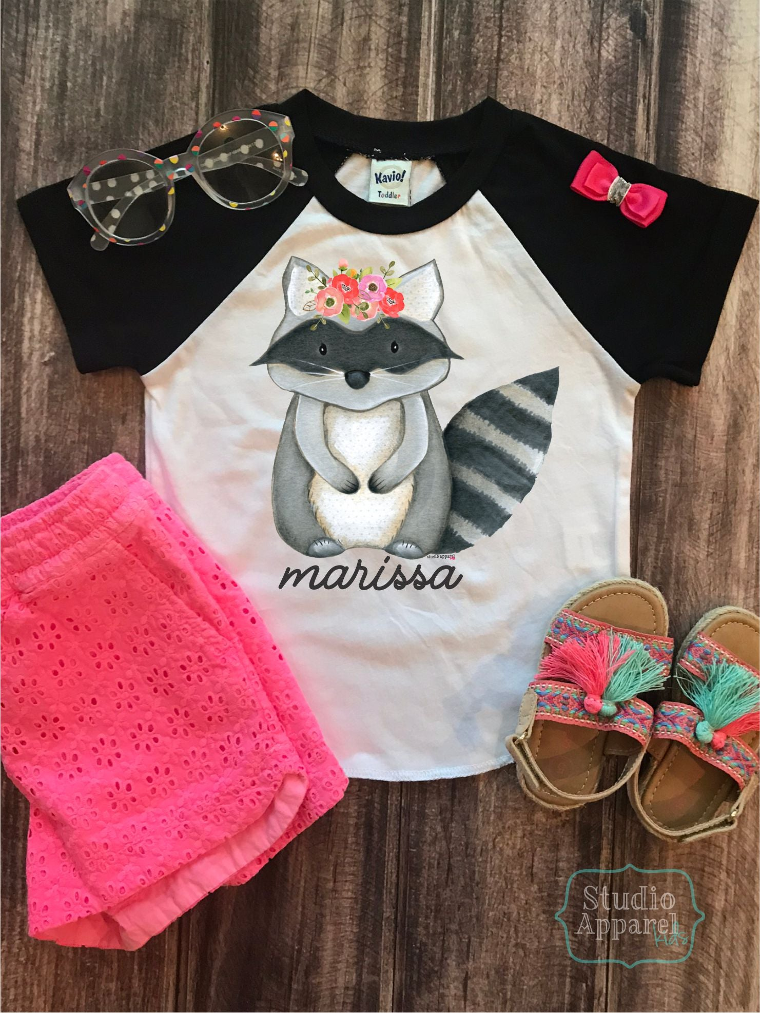 Cute Monogram Raccoon Raglan Tee (T1029)