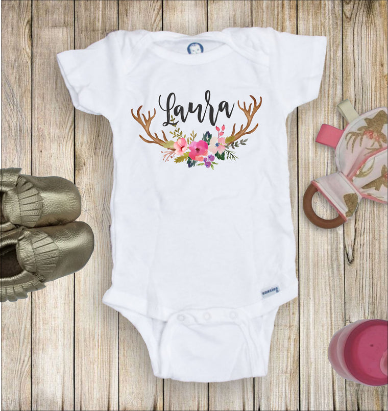 Personalized Floral Antler Toddler Infant Tee
