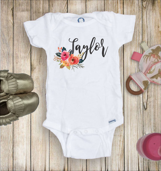 Floral Name Toddler Infant Tee