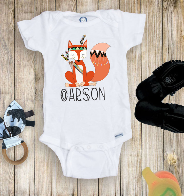 Personalized Tribal Fox Toddler Infant Tee
