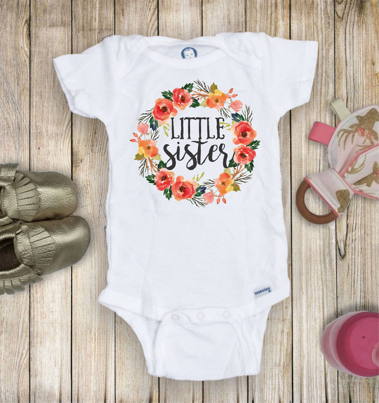 Little Sister Floral Wreath Toddler Infant Tee