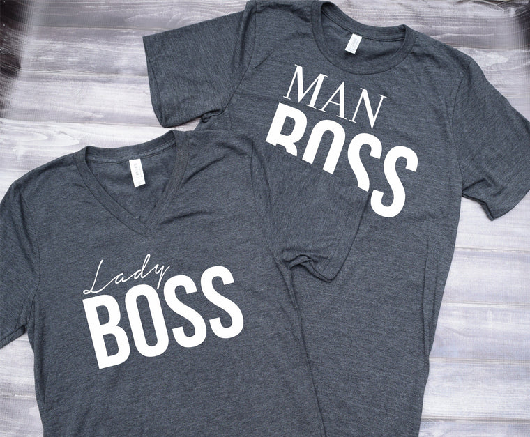 Man Boss Lady Boss Couples Set Tee Shirts
