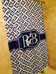Greek Key Monogram Shower Curtain (SC1012)