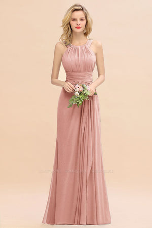 Round Neck Sleeveless Bridesmaid Dress