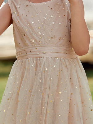 Sweet Round Neck Sleeveless Tulle & Sequin Flower Girl Dress
