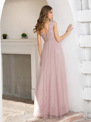 Double V Neck Tulle Bridesmaid Dress