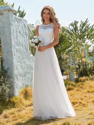 Plain Round Neck Sleeveless Lace & Tulle Wedding Dress