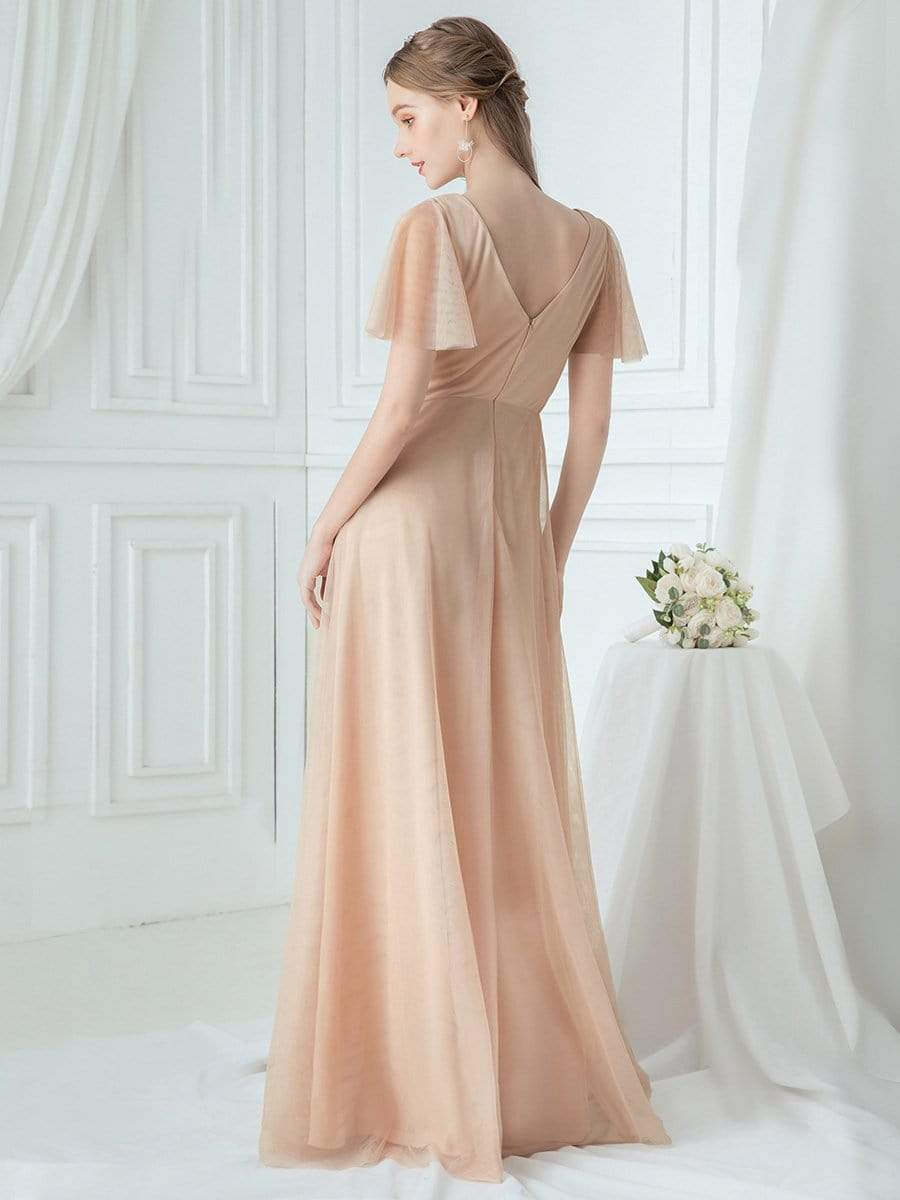 Romantic A-Line Embroidered Bridesmaids Dress