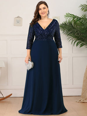 V Neck A-Line Sequin Bridesmaids Dress