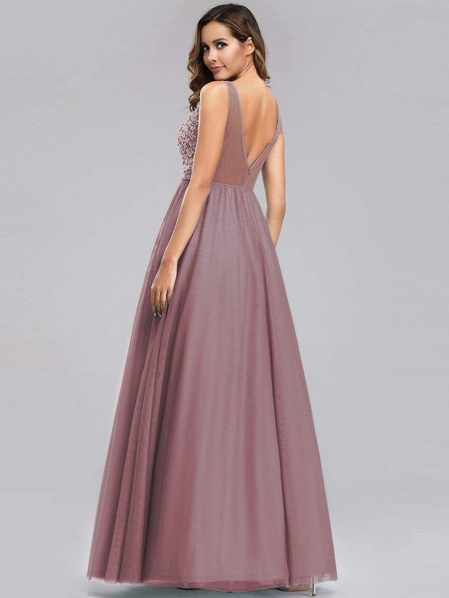 A-Line V-Neck Floral Lace Appliques Bridesmaid Dress