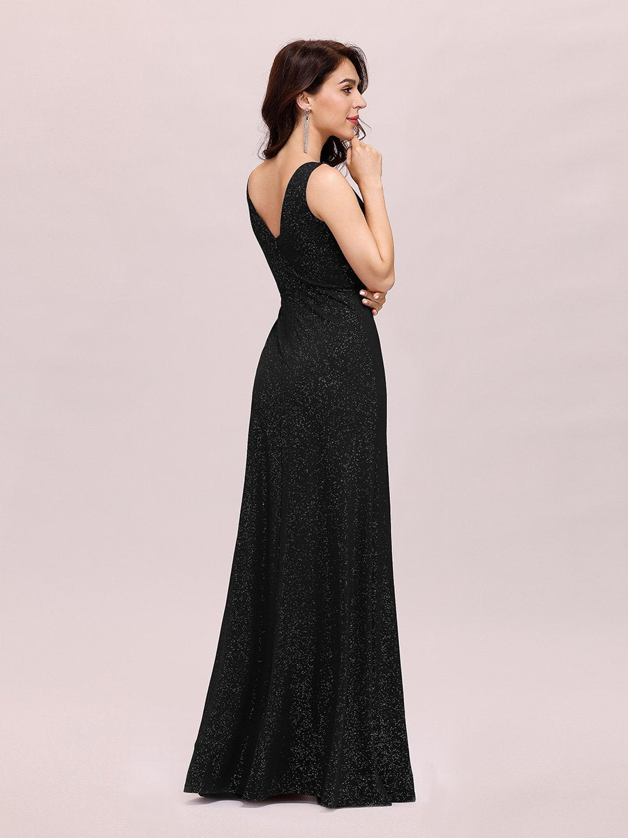 Floor Length V Neck Shimmery Evening Dresses With Side Split