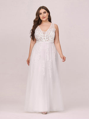 Vee Neck Sleeveless Wedding Dress