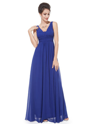 Elegant Deep V-neck Maxi Bridesmaids Dress - BP08110