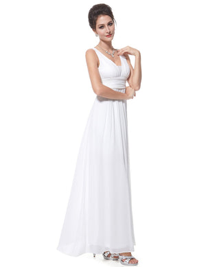 Elegant Deep V Neck Wedding Dress