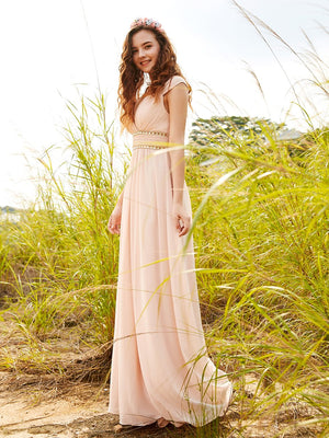 V-Neck Empire Waist Chiffon Maxi Long Dress