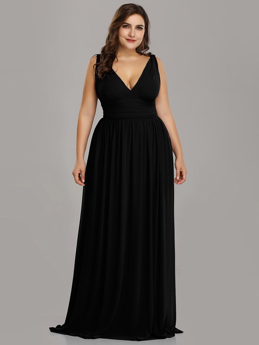 Double V-Neck Elegant Maxi Long Ball/Evening Dress
