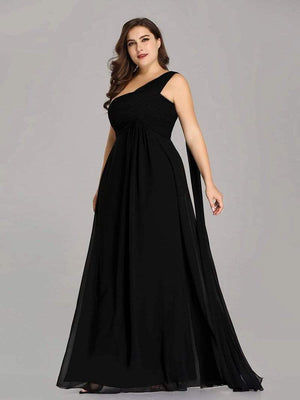 One Shoulder Chiffon Ruffle Bridesmaids Dress