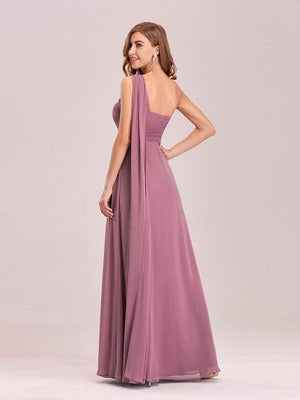 Shoulder Chiffon Ruffle Bridesmaids Dress