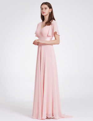 Double V-Neck Ruffle Sleeve Bridesmaids Dress