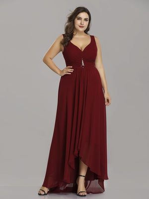 Double V Neck Rhinestones Bridesmaids Dress