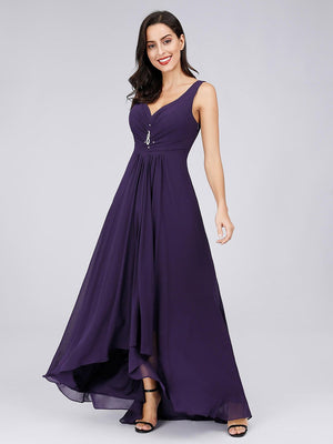 Double V Neck Rhinestones Bridesmaids Dress - BP09983