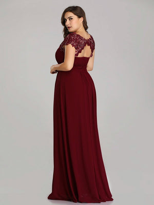 Lacey Neckline Open Back Bridesmaids Dress