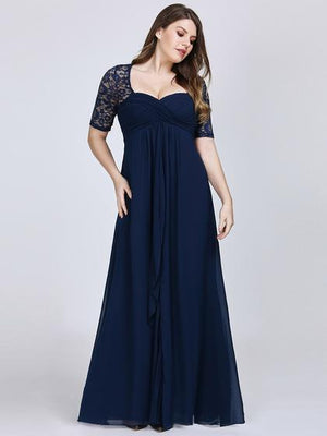 Floor Length Sweetheart Neckline Lace Bridesmaid Dress