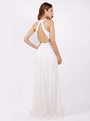 Halter Neck Off White Lace Bodice Dress