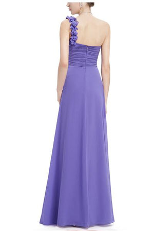 One Shoulder Chiffon Bridesmaid Dress