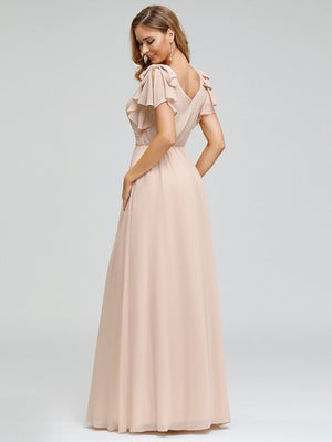 Ruffle Sleeve Bridesmaids Dress - BZ07709