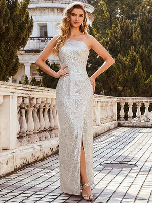 Sexy One Shoulder Sequin Evening Dress with Side Split