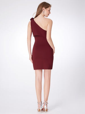 Women Fashion One Shoulder Burgundy Cocktail Party Dress