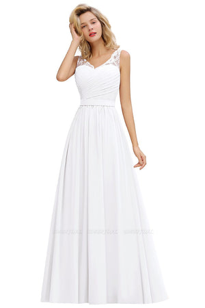 A-Line Chiffon Lace V-Neck Ruffle Wedding Dress