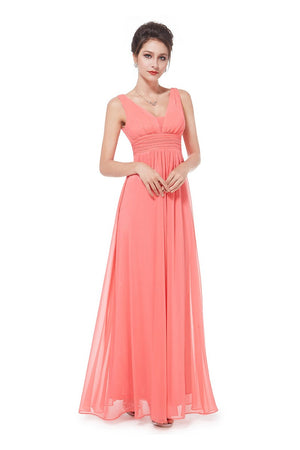 Elegant Deep V Neck Bridesmaids Dress