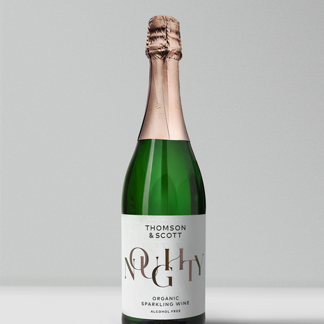 previous kind studios client thomson and scott bottle of organic alcohol free sparkling wine with conversion rate metrics