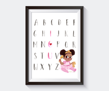 African American Princess I love You Alphabet Artwork