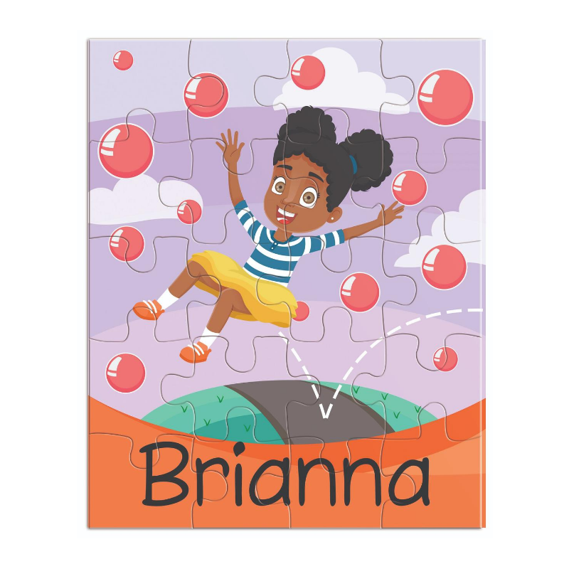 child jigsaw puzzle featuring an African American girl with afro puffs bouncing in the air.