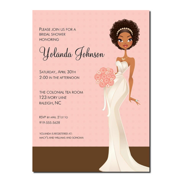 Jade African American Bridal Shower Invitation Pink