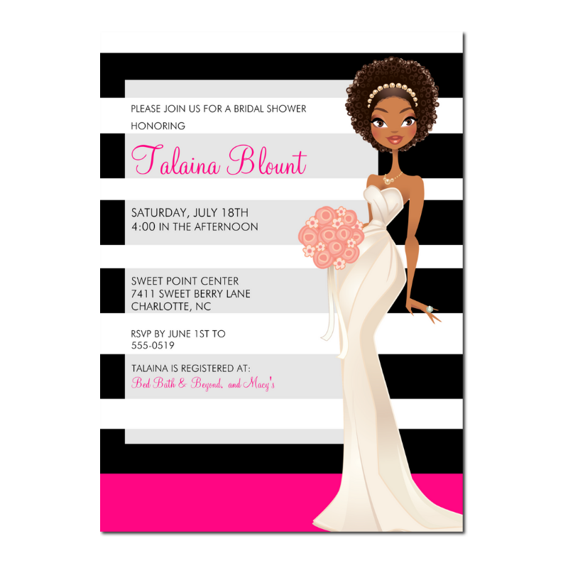Jade African American Bridal Shower Invitation Stripes