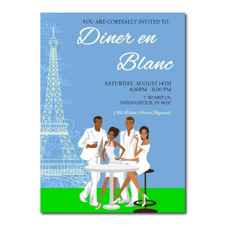 African American Diner en Blanc Party Invitation