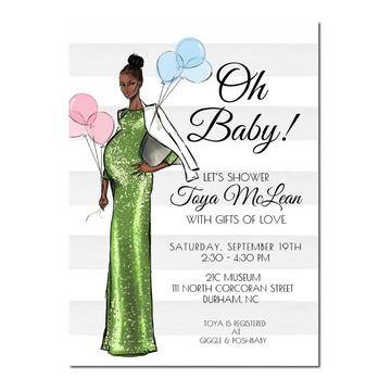 African American Fashion Baby Shower Invitation