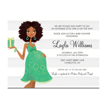 African American Baby shower invitation showcasing an African American woman with naturally curly hair.